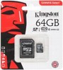 Карта памяти microSDHC 64GB Kingston microSDXC Class 10 UHS-I U1 (SD адаптер) SDCS/64GB
